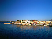 Venetian old city and port, ottoman mosque, townscape, Chania, Crete, island in the Mediterranean See, Greece