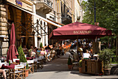 Restaurants at Liszt Square, View along the Liszt Square with open-air cafes, Pest, Budapest, Hungary