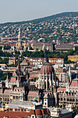 View to the Parliament, View from Budapest Eye Sightseeing Balloon to the Parliament, Pest, Budapest, Hungary