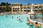 People in thermal bath, People relaxing in thermal bath of Szechenyi-Baths, Pest, Budapest, Hungary