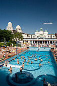 Open-air area of the Gellert Baths, People in the open-air area of the Gellert Baths, Buda, Budapest, Hungary