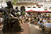 Franz Liszt statue and open-air cafes, Franz Liszt statue and open-air cafes at Liszt Square, Pest, Budapest, Hungary