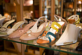 Outlay of a shoe boutique, Exclusive shoesof a shoe boutique at Vaci Street, Pest, Budapest, Hungary
