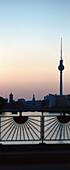 View from the Oberbaum bridge towards the television tower at Alexanderplatz, Berlin, Germany