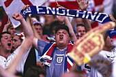 Soccer fans from England jubilating