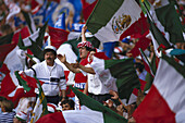 Mexican football fans with flags