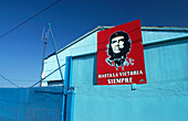 Red Che Guevara Plate on a warehouse in Havana's harbour