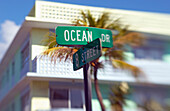 Ocean Drive, Street Sign on junction with 8th street, Building of News Cafe