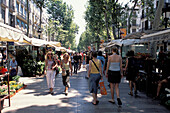 People strolling on, Las Ramblas, Barcelona, Spain