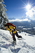 Kick-turn, Ski touring, Gamsfeld, Salzburg Region, Austria