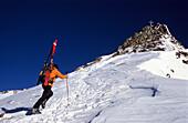 Man on a skitour ascending the summit, Wildspitze, 3768 m, Tyrol, Austria