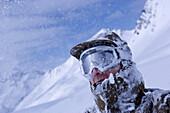 One man fully snowcovered, Kuehtai, Tyrol, Austria