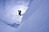 Young man skiing, Kuehtai, Tyrol, Austria