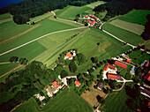 Aerial view of Holzhausen, Starnberger See, Upper Bavaria, Deutschland
