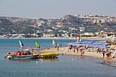 View to busy Kefalos beach, Kefalos, Kos, Greece