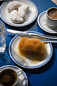 Greek sweets and coffee serving in the Marianthi Tavern, Zia, Kos, Greece