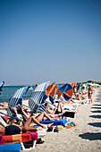 People sunbathing at beach, Tigaki, Kos, Greece