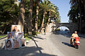 Paintings of a street performer at an avenue with palms near a bridge, Kos-Town, Kos, Greece