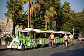 A sightseeing tour train parking on street, Kos-Town, Kos, Greece