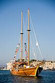 Three island excursion sailing boat at Mandraki harbour, Kos-Town, Kos, Greece