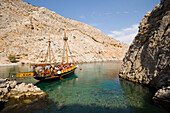 People on a sailing boat during a boat trip to a bay at Kalymnos