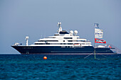 View to the Octopus, the world's third largest private yacht (126,8m) of Paul Allen the co-founder of Microsoft, Mykonos, Greece