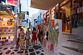 Group of young girls during a shopping expedition, Mykons-Town, Mykonos, Greece