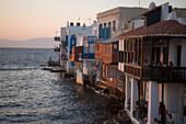 Veranda Club restaurant directly at sea, Little Venice, Mykonos-Town, Mykonos, Greece