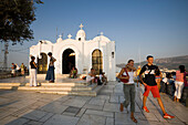 People visiting the Agios Georgios Chapel on the Lykavittos Hill, Athens, Athens-Piraeus, Greece