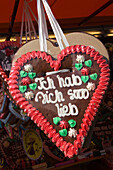 Lebkuchenherz, gingerbread heart, souvenir at Oktoberfest, Munich, Bavaria, Germany