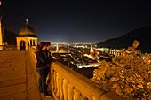 View from Heidelberg Castle onto Heidelberg at night, Heidelberg, Baden-Wuerttemberg, Germany