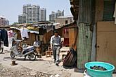 Abriss, demolitian Hongkou,Redevelopment area, Abrissgebiet, living amongst demolished  houses, Wanderarbeiter leben in Abrisshäusern und provisorischen Bretterverschlägen, migrant worker, living in demolished houses and self built shacks, slum