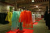 Fashion designer Biche de Bere,French haute couture and prêt á porter designer Biche de Bere, portrait, warehouse at Souzhou Creek, red, green, Nan Su Zhou Lu