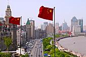 Huangpu River and flag, Shanghai's Prachtbauten, landmark