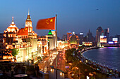 Huangpu River at night,View from roof terrace, Three on the Bund, national flag