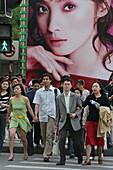 Pedestrians, Huaihai Xilu,intersection Huaihai Xilu, shopping, people, consumer, consume