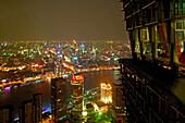 View from Jinmao Tower,Center of Pudong, Huangpu River, Fluß, Pearl Orient Tower, TV Tower, Bund, city centre, Aussicht, observation platform, Aussichtspunkt, Jinmao