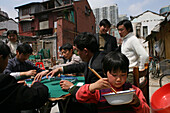playing mahjong, migrant workers, demolished houses, Lao Xi Men, Shanghai