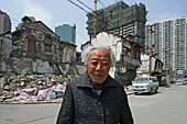 last elderly resident, of demolition area, Lao Xi Men, Shanghai