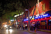Maoming Lu, night life, Nightlife, live music, strip of bars, crowd, red-light district