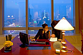 JW Marriott Hotel Shanghai,Five Star Hotel, Nanjing West Road, in 38th floor, opened 2003, Luxury hotel, reception, guest service, view over People's Park