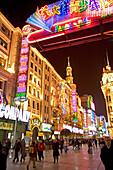 Shopping, Nanjing Road,Evening, Nanjing Road, shopping, people, pedestrians