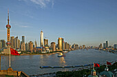 Skyline Pudong, Huangpu River, Pearl Orient Tower, TV Tower, Jinmao, flag
