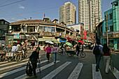 Hongkou quarter Shanghai, highrise, bicycle, bicycle, street