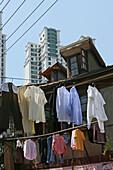 Hongkou quarter Shanghai, clothes line, laundry, highrise, drying clothes