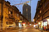 Hongkou quarter Shanghai, street, highrise, street, Shops, scaffolding