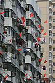 apartment towers, living in Shanghai,highrise apartments, national flags, Nationalflagge, Laundry