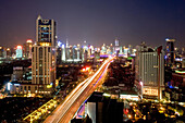 Gaojia motorway, night,Gaojia, elevated highway system, Hochstraße, Autobahnring, Autobahnkreuz im Zentrum von Shanghai, Hochstrasse auf Stelzen, Kreuzung von Chongqing Zhong Lu und Yan'an Dong Lu, Expressway