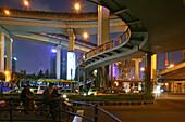 Gaojia motorway,Gaojia, elevated highway system, Hochstraße, Brücke, bridge, Autobahnring, Autobahnkreuz im Zentrum von Shanghai, Hochstrasse auf Stelzen, Kreuzung von Chongqing Zhong Lu und Yan'an Dong Lu, Expressway, puzzle of concrete tracks