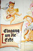 Painting and sign on the Oktoberfest, Munich, Bavaria, Germany